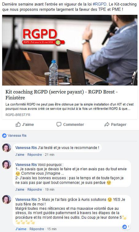 kit et coaching rgpd : avis sur FaceBook