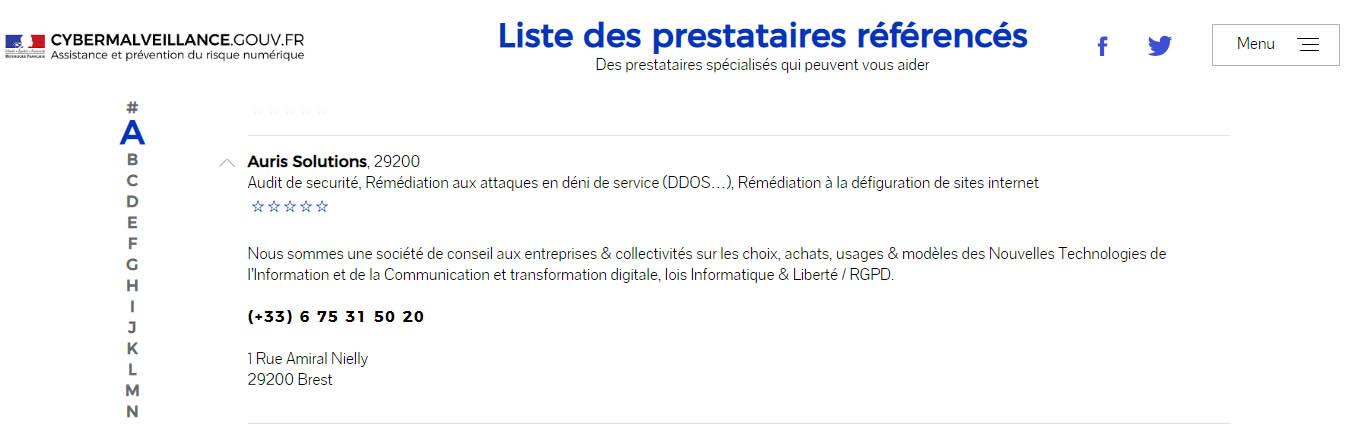 Auris Solutions référencé par le site gouvernemental cybermalveillance.gouv.fr